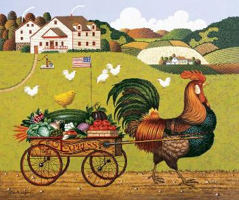 Charles Wysocki Rooster Express Open Edition on Canvas