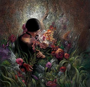 Lee Bogle Rose Garden Giclee on Canvas