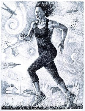 Monte Dolack Running Women Hand Drawn Black and White Lithograph