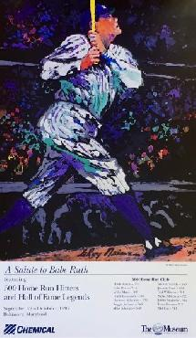 LeRoy Neiman Salute to Babe Ruth Hand Signed by LeRoy Neiman