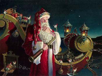 Dean Morrissey Santa: Packed and Ready Giclee on Canvas