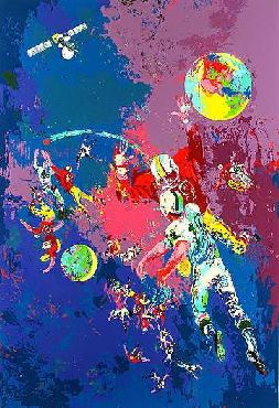 LeRoy Neiman Satellite Football Hand Pulled Serigraph