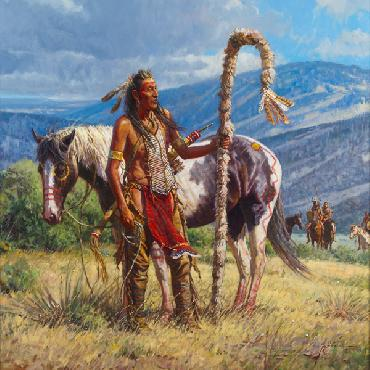 Martin Grelle Second to the Pipe Carrier Signed Open Edition on Paper