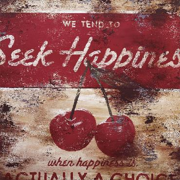 Rodney White Seek Happiness (The Hardest of Easy Choices) Open Edition Wrapped Giclee on Canvas