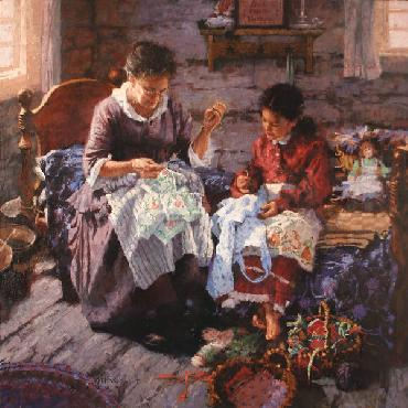 C. Michael Dudash Sewing Lesson Open Edition Giclee on Canvas