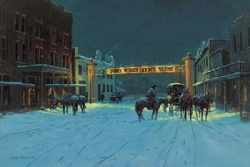 Lyndy Benson Silent Night In Cowtown Canvas