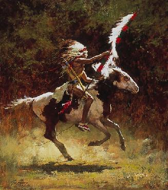 Howard Terpning Sioux Flag Carrier Lithograph on Paper
