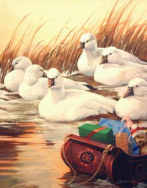 Mario Fernandez Six Geese A Laying