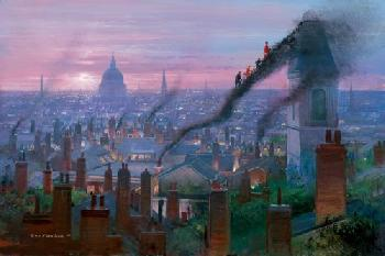 Peter Ellenshaw Smoke Staircase Canvas on Giclee