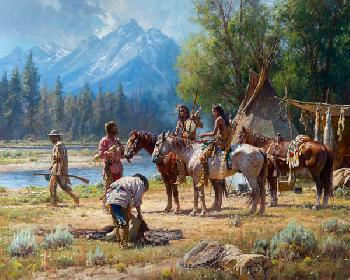 Martin Grelle Snake River Culture Signed Open Edition Giclee on Canvas