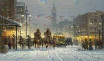 G. Harvey Snowy Tracks Giclee on Canvas