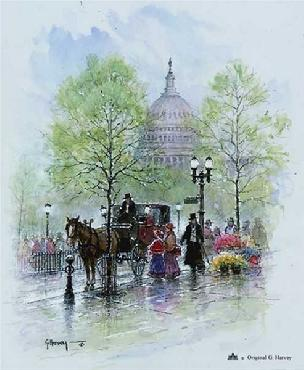G. Harvey Springtime in Washington Serigraph Deluxe Edition
