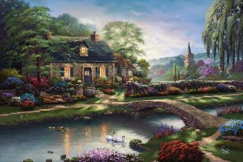 Thomas Kinkade Stoney Creek Cottage Estate Edition on Canvas