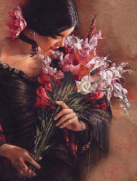 Lee Bogle Summer Bouquet Giclee on Canvas