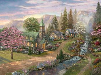 Thomas Kinkade Sunday Morning Chapel Estate Edition on Canvas