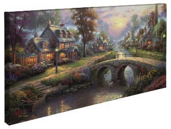 Thomas Kinkade Sunset on Lamplight Lane Open Edition Wrapped Canvas