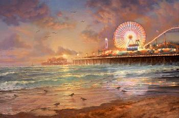 Thomas Kinkade Sunset at Santa Monica Pier Gallery Proof on Paper