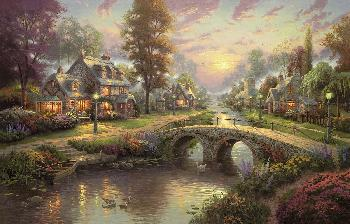Thomas Kinkade Sunset on Lamplight Lane SN Canvas