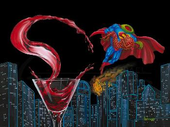 Michael Godard Super-Tini Super Hero Giclee on Canvas