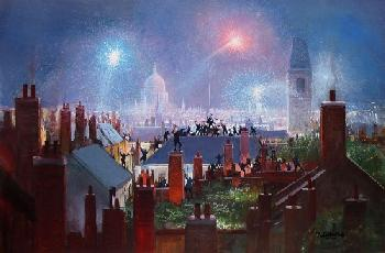 Peter Ellenshaw Sweeps Dance on the Rooftops Canvas on Giclee