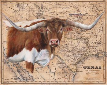 Patty Pendergast Texas Longhorn Map Open Edition Giclee on Canvas
