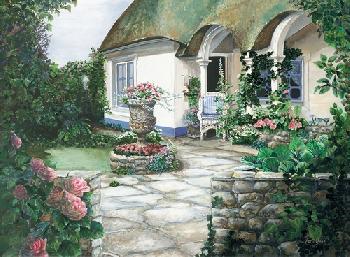 April Yost Thatch Roof Cottage Canvas Edition