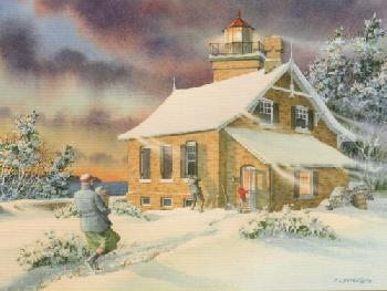 Charles Peterson Thursday At Eagle Light: Early Snow Giclee on Watercolor Paper