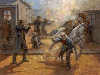 Andy Thomas Tombstone Turmoil - Wyatt Earp Behind OK Corral Giclee on Canvas