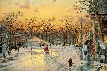 Thomas Kinkade Town Square Gallery Proof on Canvas