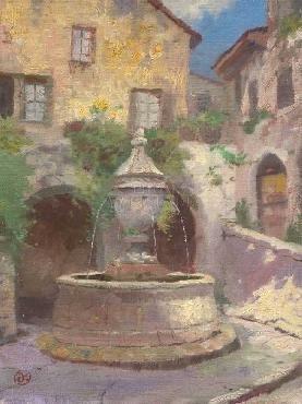 Thomas Kinkade Tuscan Village Fountain SN Canvas