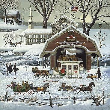 Charles Wysocki Twas the Twilight Before Christmas 1987 Christmas Print