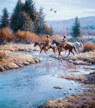 Martin Grelle Two Coups Signed Open Edition Giclee on Canvas