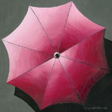 Lynne Bernbaum Umbrellas Red Canvas Giclee
