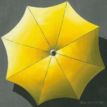 Lynne Bernbaum Umbrellas Yellow Canvas Giclee