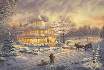 Thomas Kinkade Victorian Christmas Sunset Estate Edition on Canvas