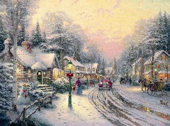 Thomas Kinkade Village Christmas SN Paper
