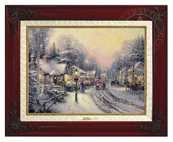 Thomas Kinkade Village Christmas Canvas Classic Brandy Frame