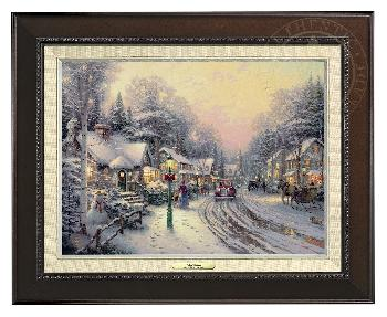 Thomas Kinkade Village Christmas Canvas Classic Espresso Frame