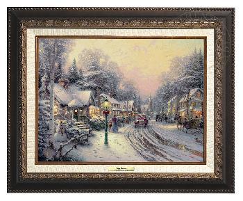 Thomas Kinkade Village Christmas Canvas Classic Aged Bronze Frame