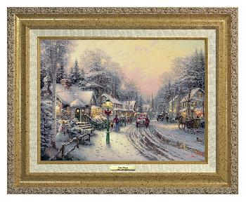 Thomas Kinkade Village Christmas Canvas Classic Gold Frame