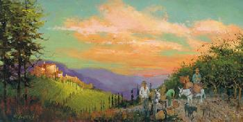 H.C. Zachry Vinyard Dogs Giclee on Canvas