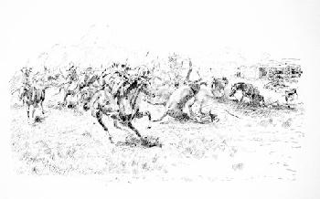 Charles Russell Wagon Box Fight