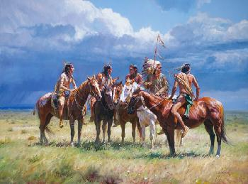 Martin Grelle Waiting on the Wolves Open Edition Giclee on Canvas