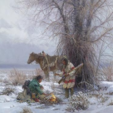 Martin Grelle Warming Fire Giclee on Canvas