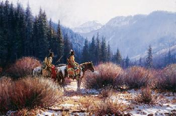 Martin Grelle Warriors in the Willows Signed Open Edition Giclee on Canvas