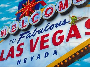 Michael Godard Welcome to Las Vegas Giclee on Canvas
