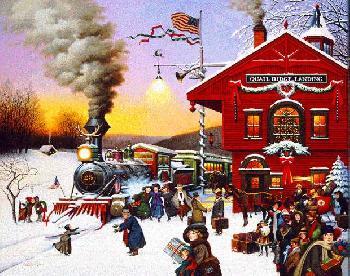 Charles Wysocki Whistle Stop Christmas 1991 Christmas Print