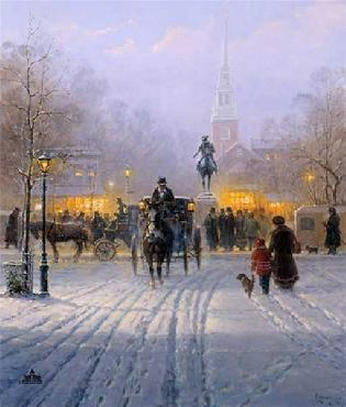 G. Harvey Winter Evening in Old Boston