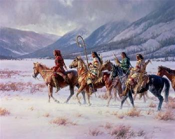 Martin Grelle Winter of the Apsaroke Giclee on Canvas