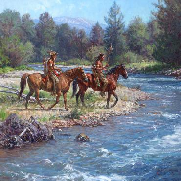 Martin Grelle Wolves on Rock Creek Signed Open Edition on Paper